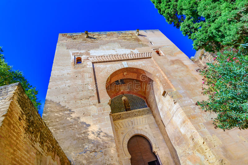 Gate of Justice,Puerta de la Justicia,Alhambra, Granada, Spain,. Andalusia,Europe: the most impressive gate to Alhambra complex, n royalty free stock images