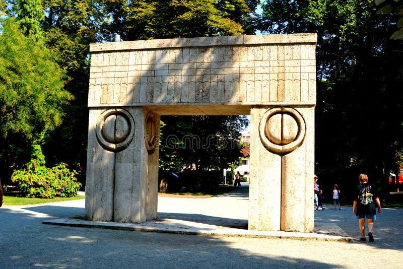 The Gate of the Kiss. The Sculptural Ensemble of Constantin Brâncuși at Târgu Jiu. The Sculptural Ensemble of Constantin Brâncuși at Târgu royalty free stock images