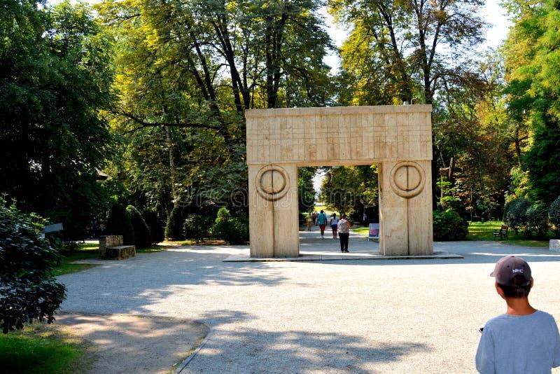 The Gate of the Kiss. The Sculptural Ensemble of Constantin Brâncuși at Târgu Jiu. The Sculptural Ensemble of Constantin Brâncuși at Târgu royalty free stock photo
