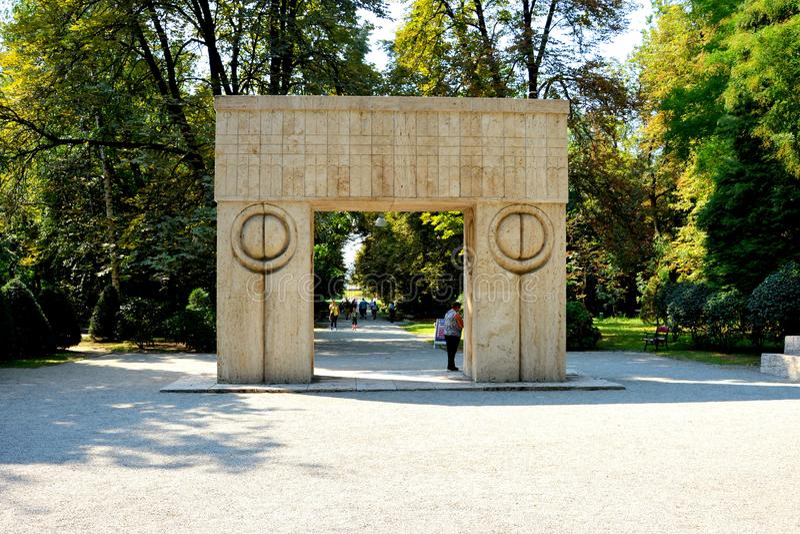 The Gate of the Kiss. The Sculptural Ensemble of Constantin Brâncuși at Târgu Jiu. The Sculptural Ensemble of Constantin Brâncuși at Târgu stock images