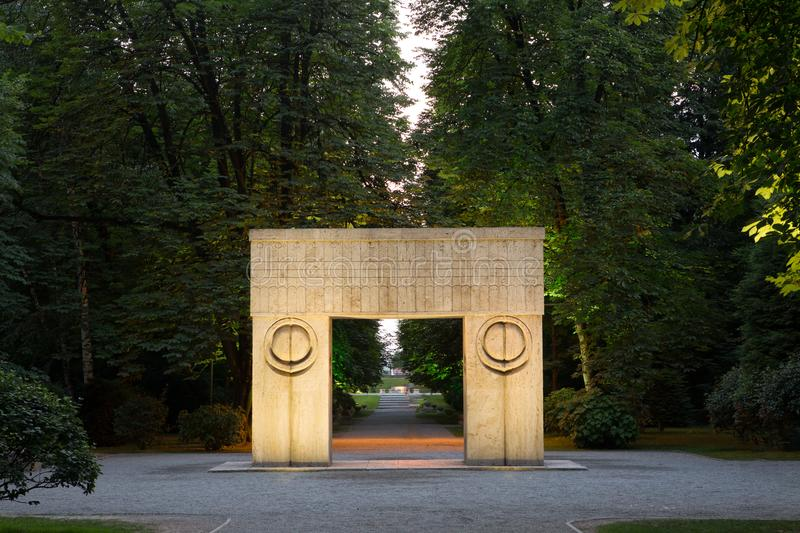 Gate of the Kiss, sculpture of Constantin Brancusi. Poarta Sarutului meaning Gate of the Kiss in english is a sculpture made by Constantin Brancusi, and is royalty free stock photos