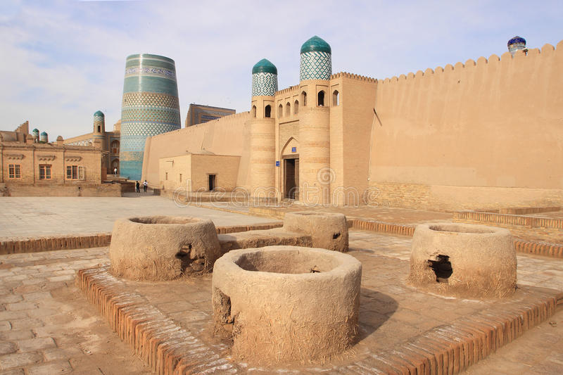 The gate of Kunya Ark Palace in Ichan Kala in Khiva city, Uzbekistan. Kunya-Ark Citadel 'Old Citadel' abuts on Khiva's fortification wall royalty free stock images