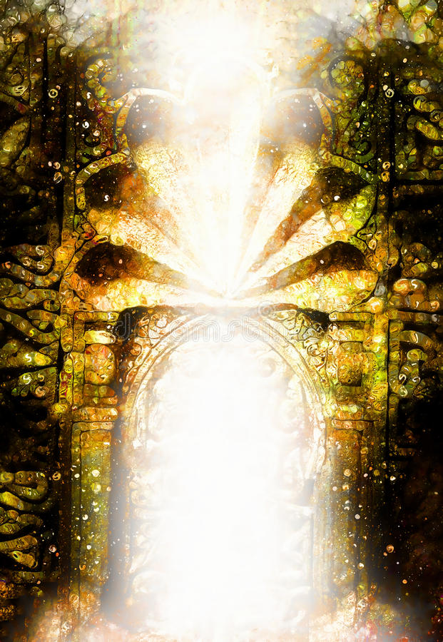 Gate of light, dimensional portal with ancient ornaments on side. stock illustration