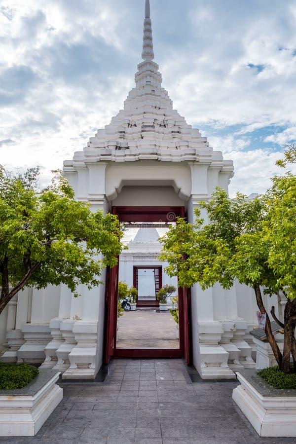 The gate of Loha Prasart or Metal Castle at Wat Ratchanadda at Bangkok, Thailand. stock photos