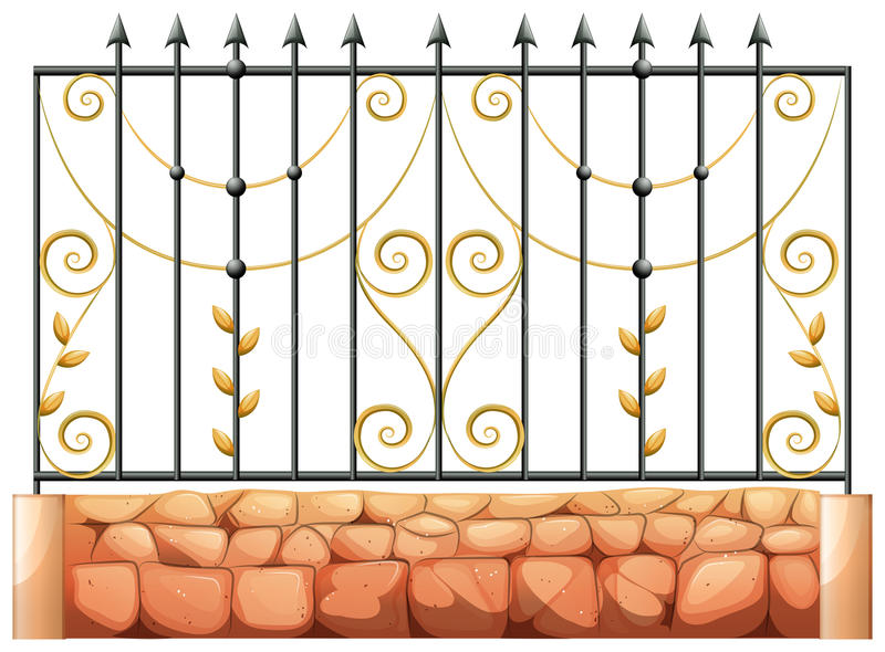 A gate made of pointed steel. Illustration of a gate made of pointed steel on a white background stock illustration