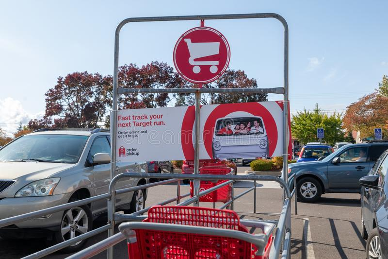 Gate of Marshalls Shopping mall, American off-price department stores in Oregon, USAc. Beaverton, Oregon - Oct 7, 2019 : Exterior view of a Target retail store royalty free stock photography