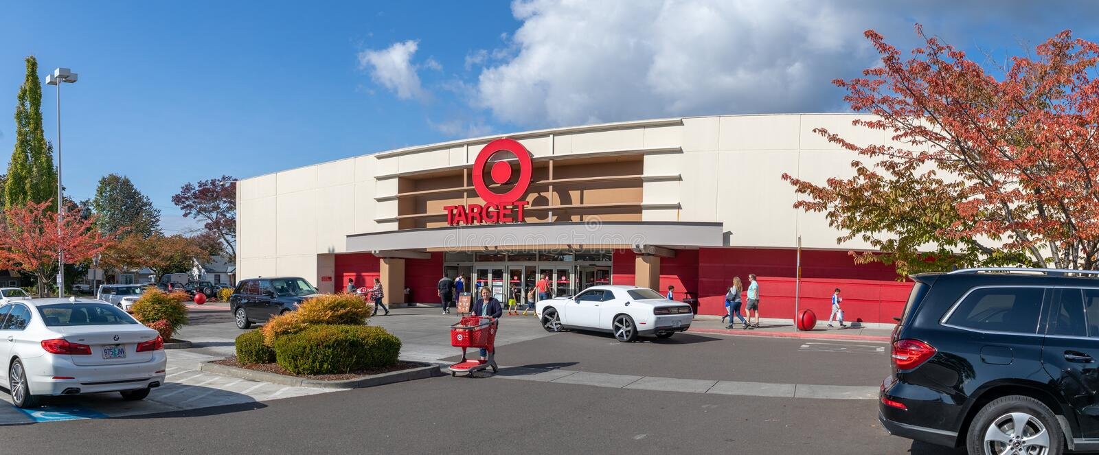 Gate of Marshalls Shopping mall, American off-price department stores in Oregon, USAc. Beaverton, Oregon - Oct 7, 2019 : Exterior view of a Target retail store stock photo