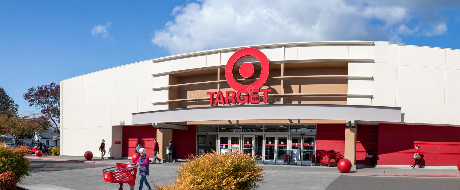Gate of Marshalls Shopping mall, American off-price department stores in Oregon, USAc. Beaverton, Oregon - Oct 7, 2019 : Exterior view of a Target retail store stock image