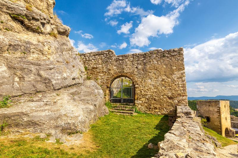 Gate into medieval castle Spis. stock image