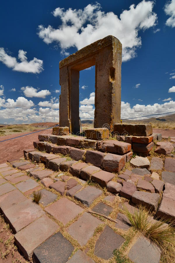 Gate of the moon. Tiwanaku archaeological site. Bolivia. Tiwanaku is a Pre-Columbian archaeological site in western Bolivia royalty free stock photos