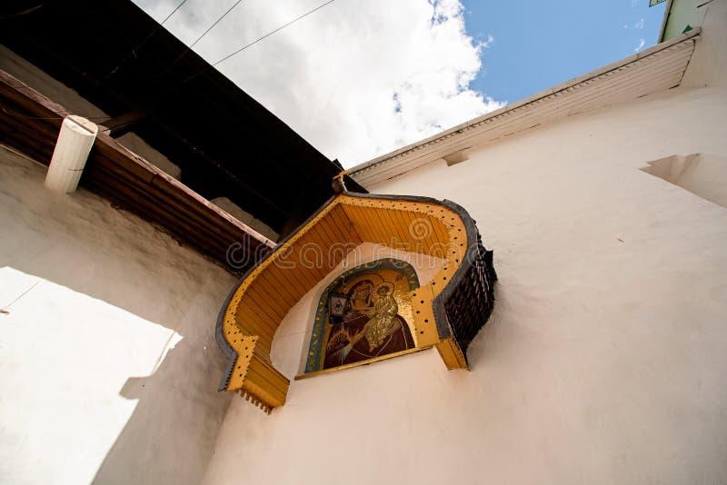 The gate mosaic fresco of the St. Nicholas Church of the Pskovo-Pechersky Monastery is the. Mother of God Odigitriya stock photography