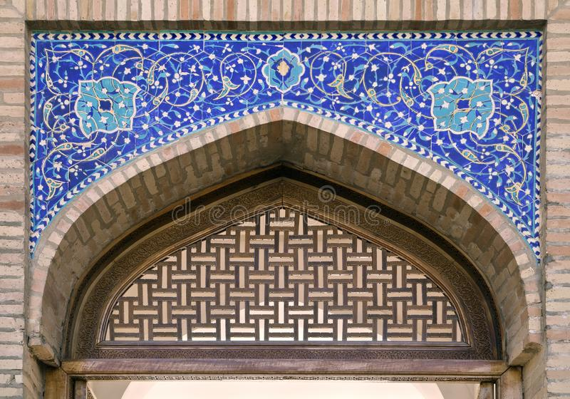 Gate of a mosque in Tashkent. Arch portal of a mosque in Tashkent, Uzbekistan stock image
