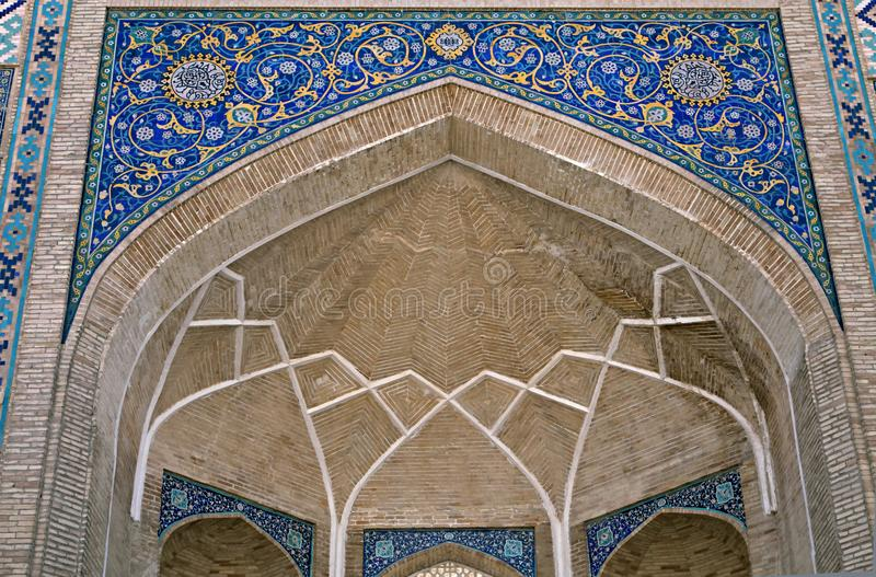 Gate of a mosque in Tashkent. Arch portal of a mosque in Tashkent, Uzbekistan stock photos