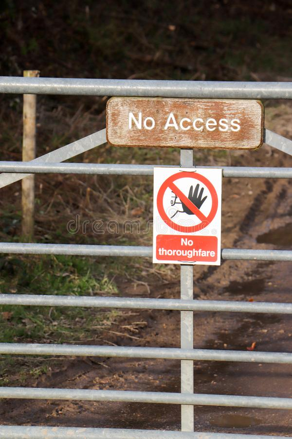 Gate with No Access Sign royalty free stock photography