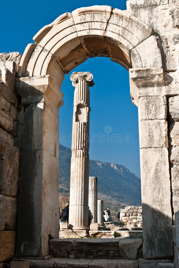 Gate in Odeion, Ephesus, Izmir, Turkey stock images
