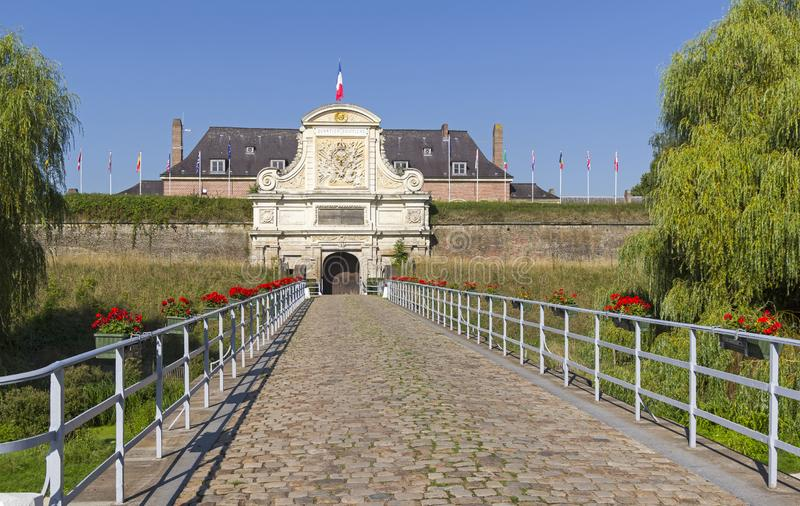 Gate in the old fortress. Lille, France. Sunny day in early September stock image