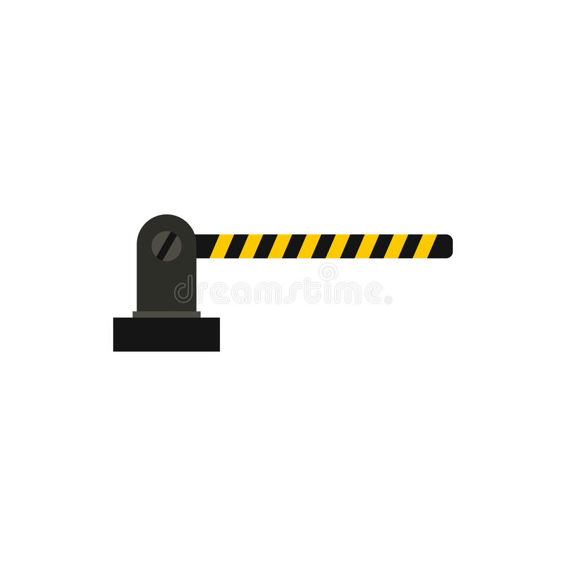 Gate in parking lot icon, flat style. Gate in parking lot icon in flat style isolated on white background. Obstacle symbol vector illustration