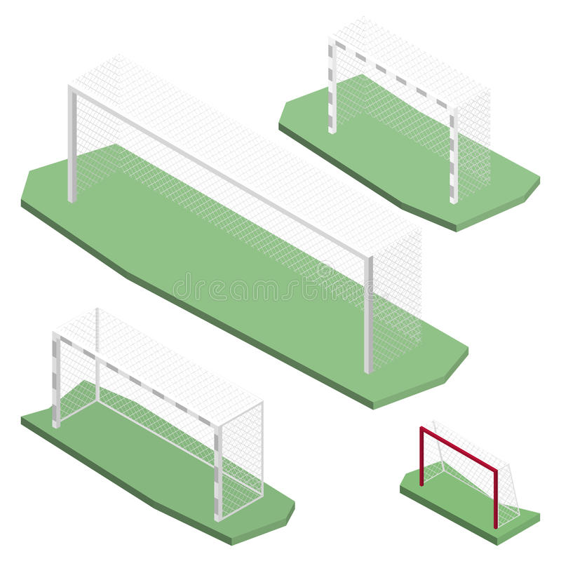 Gate for playing soccer in isometric, vector illustration. Gate of different size and shapes for playing soccer, isolated on white background. Design of sports vector illustration