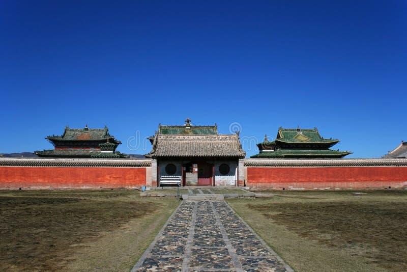 Gate and red wall in Erdene Zuu Monastery, Orkhon Valley Cultural Landscape World Heritage Site, Karakorum, Mongolia stock image