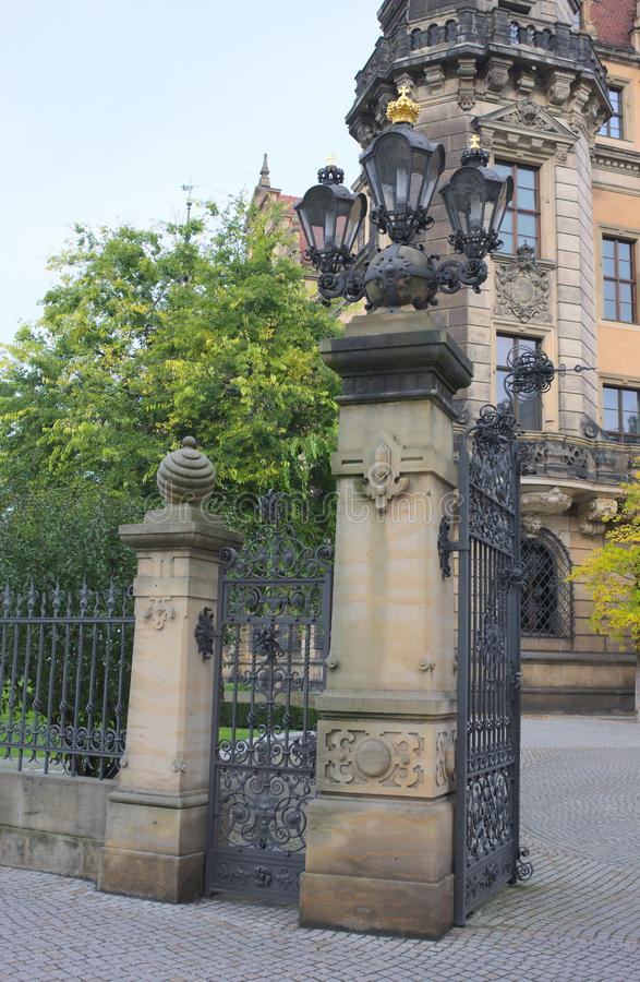 At the gate - residential palace - Dresden stock photography
