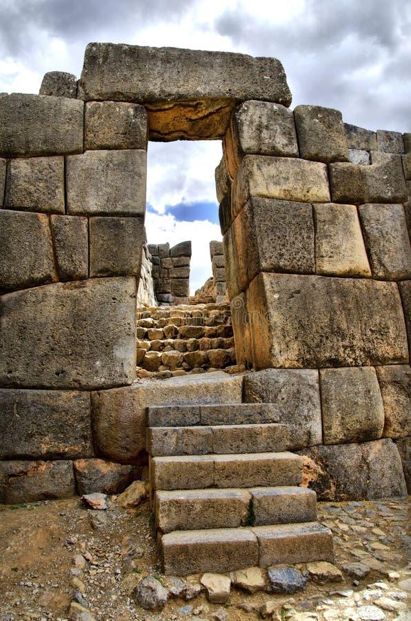 Gate at Sacsayhuaman Ruins - HDR effect stock image