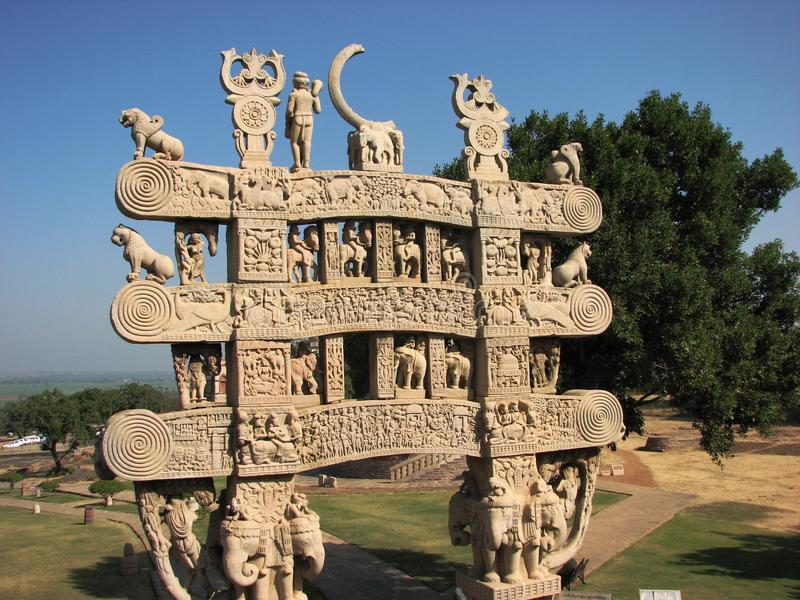 Gate of Sanchi; Ancient Stupa in Madhya Pradesh stock photography
