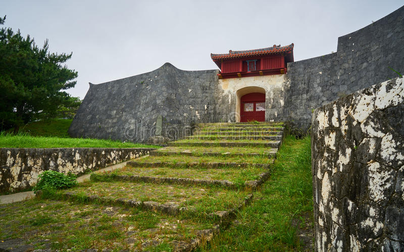 Gate of Shuri Castle and steps royalty free stock photo