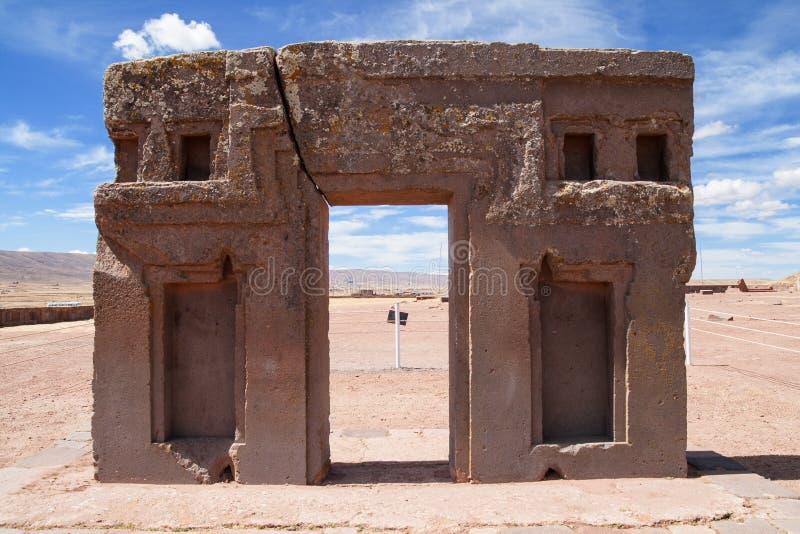 Gate of the sun, kalasasaya temple, Bolivia stock photos