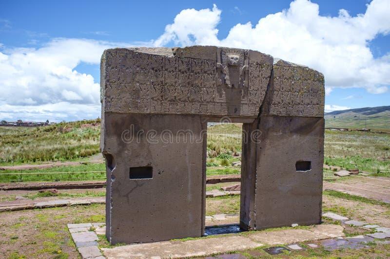 Gate of the sun in Tiwanaku (Tiahuanaco) in Bolivia stock photos