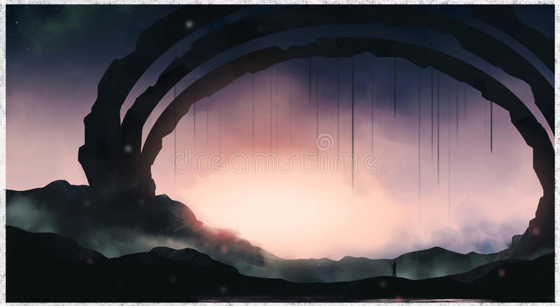 Gate of the sunlight illustration concept sketch. Landscape fantasy environment royalty free illustration