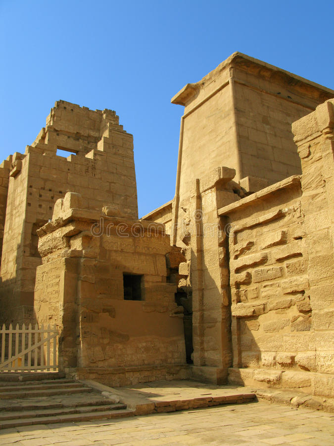 Gate of the temple of Medinet Habu. Luxor, Egypt. Main gate of the temple of Medinet Habu (dedicated to Ramesses III), on the West bank of the Nile at Luxor stock photography
