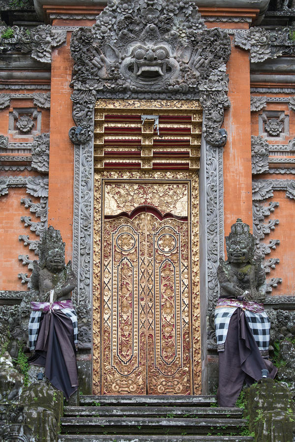 Gate of Temple with ornaments. Indonesia, Bali, Ubud stock photo