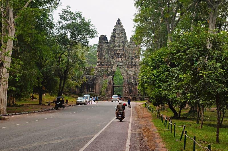 ANGKOR WAT, SIEM REAP, CAMBODIA, October 2016, Visitors at Gate to Angkor Thom stock images