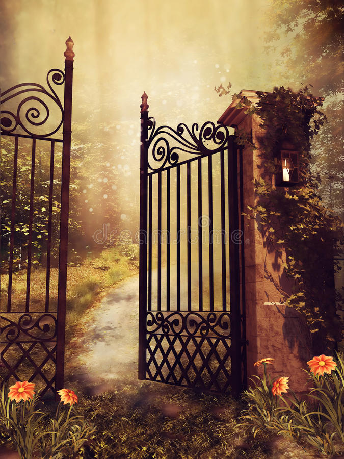 Gate to an autumn garden. Vintage gate to an autumn garden with trees and flowers stock illustration
