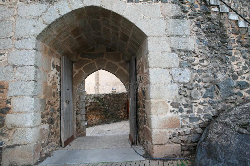 Gate to the castle of Cumbres Mayores, Huelva. Spain stock photo