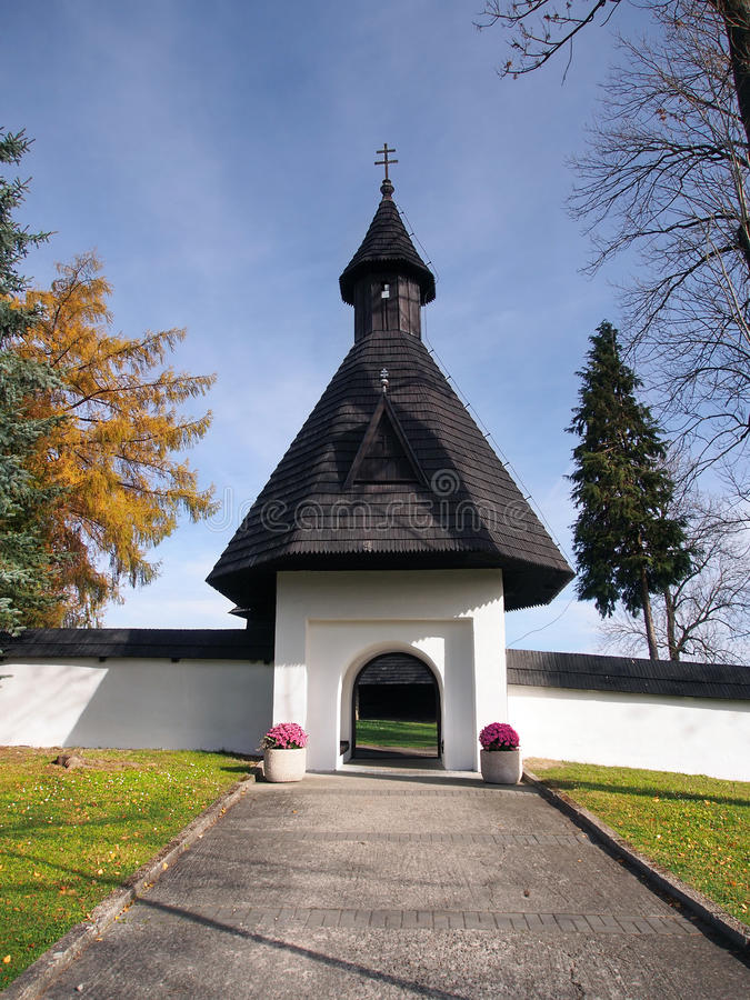 Gate to church in Tvrdosin, Slovakia stock image