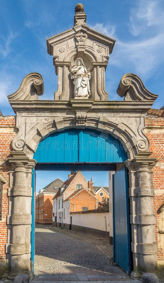 Gate to Closter of Beguinages in Lier - Belgium. View at the Gate to Cloister of Beguinages in Lier, Belgium royalty free stock image