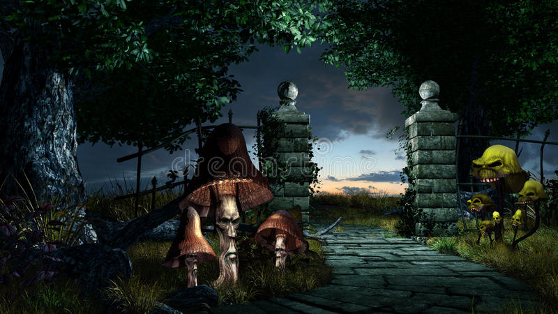 Gate to creepy garden. Fantasy scenery with old stone gate and creepy mushrooms royalty free illustration