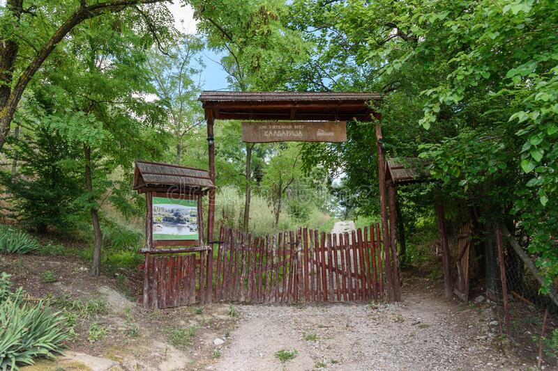 The gate to the entrance to Calvary in Titel. stock photography
