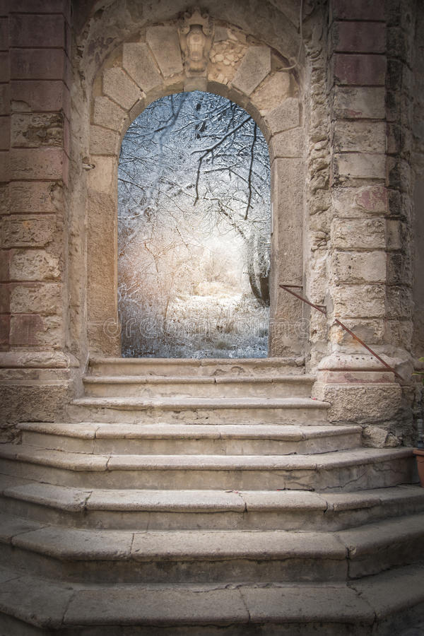 Gate to fantasy. Winter forest country royalty free stock photo