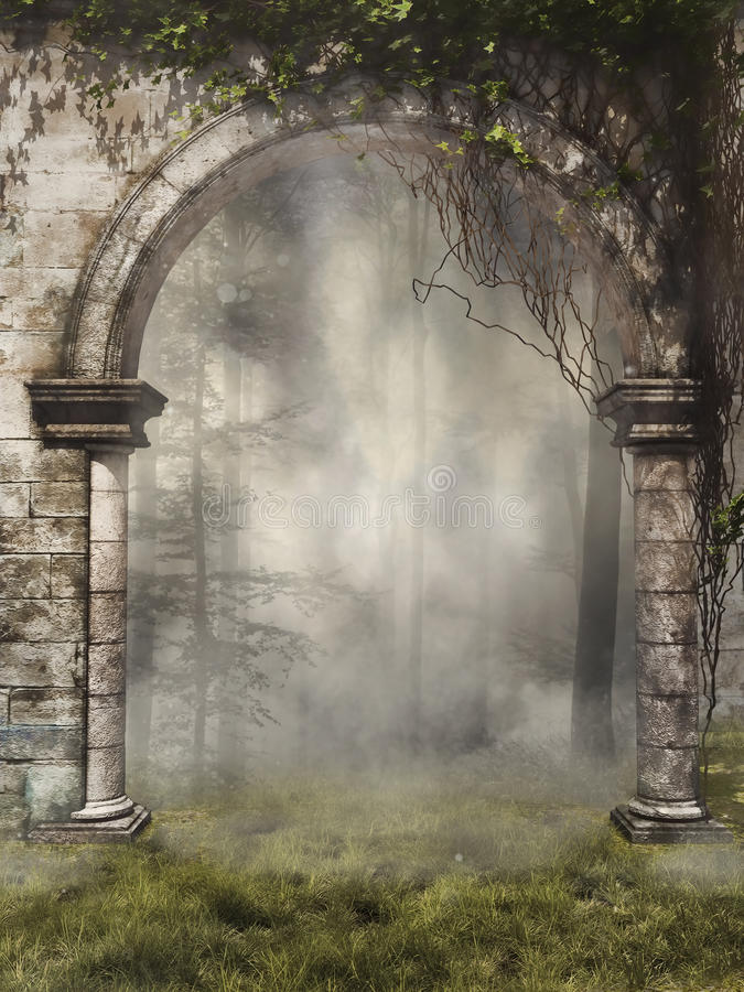 Gate to a foggy forest. Garden gate with ivy to a foggy forest stock illustration