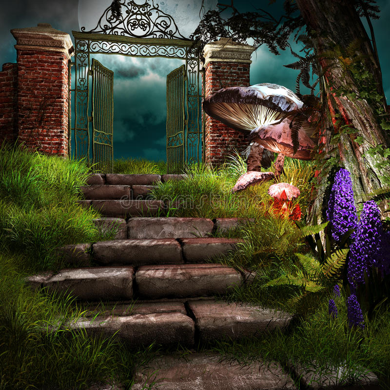 Gate to forgotten garden. Night fairytale scene with old gate, stairs and mushrooms stock illustration