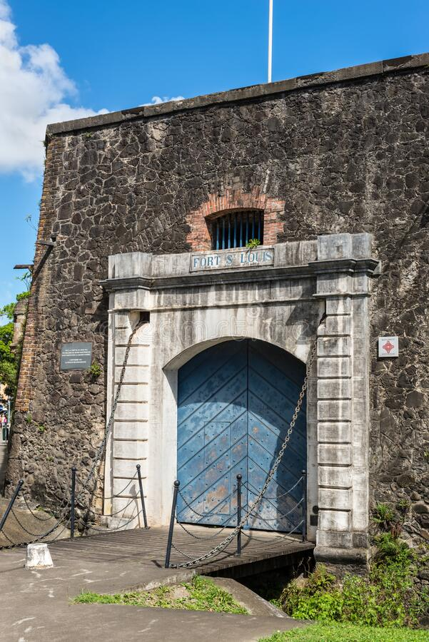 Gate to the Fort Saint Louis in Fort-de-France, France`s Caribbean overseas department of Martinique, Lesser Antilles, French Wes. Fort-de-France, Martinique royalty free stock image