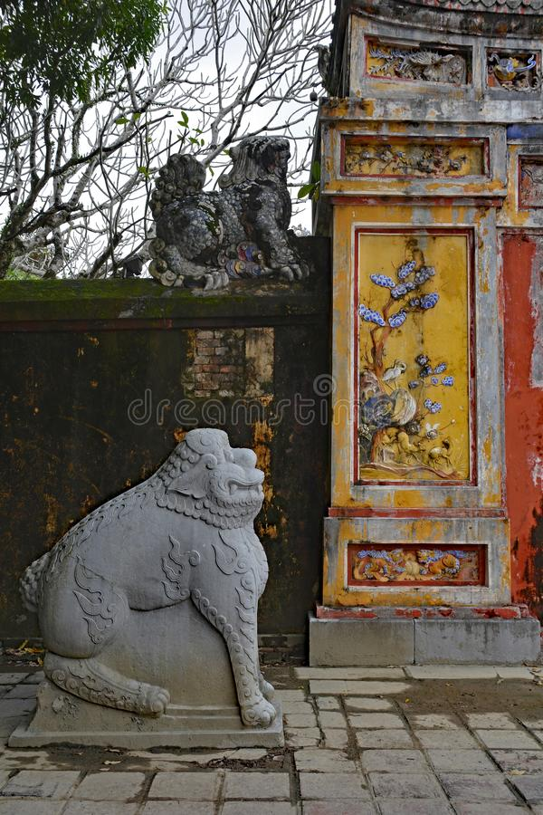 Gate to Hien Lam Pavilion. The gate to the Hien Lam Pavilion in the Imperial City, Hue, Vietnam stock photo
