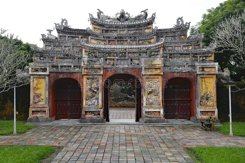 Gate to Hien Lam Pavilion. The gate to the Hien Lam Pavilion in the Imperial City, Hue, Vietnam royalty free stock photo