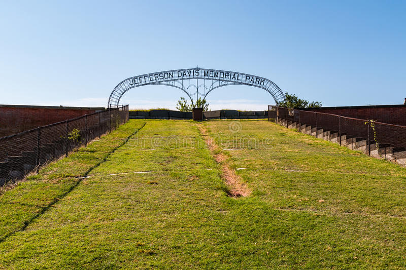 Gate to Jefferson Memorial Park at Fort Monroe stock images