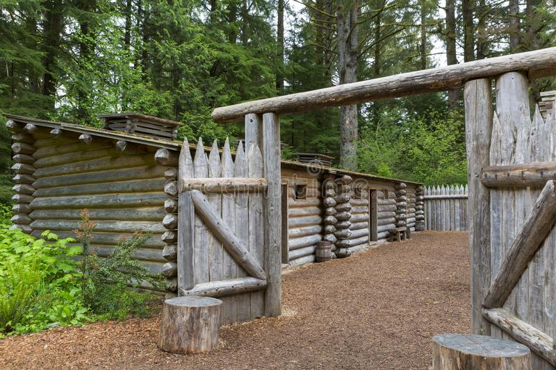Gate to Log Camp at Fort Clatsop. Gate to Log Encampment at Fort Clatsop in Lewis and Clark National and State Historical Park in Oregon royalty free stock photos