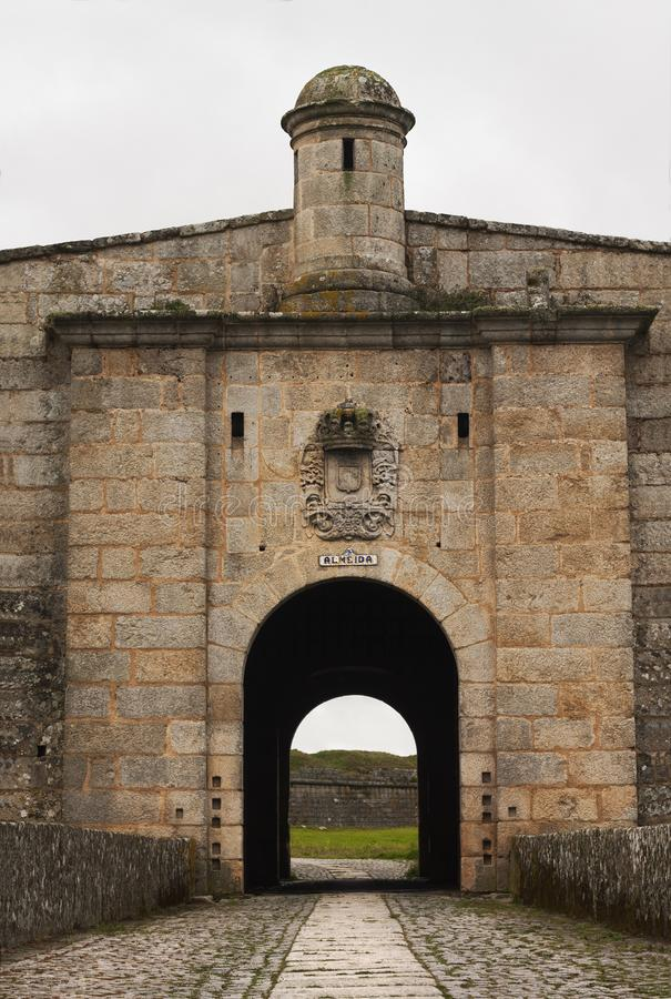 Almeida gate in portugal, medieval city royalty free stock image