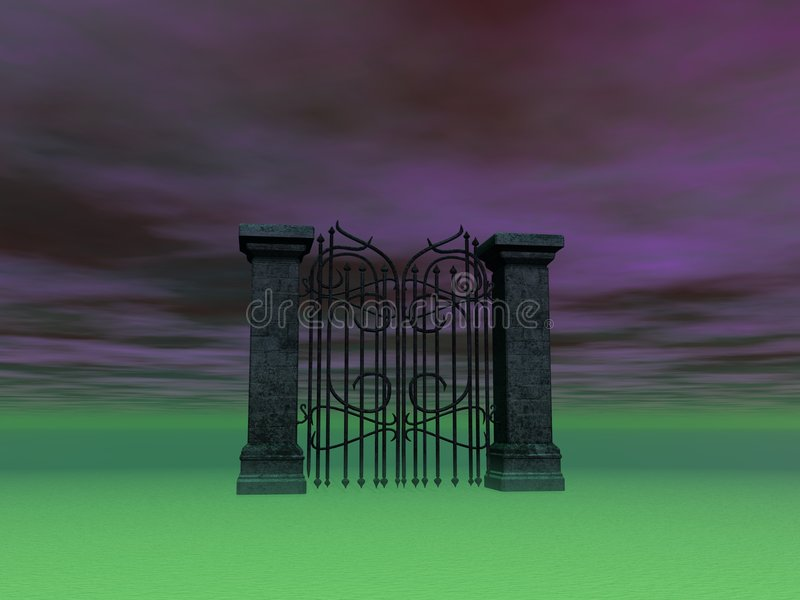 Gate To Nowhere. Surreal gate in surreal landscape stock illustration