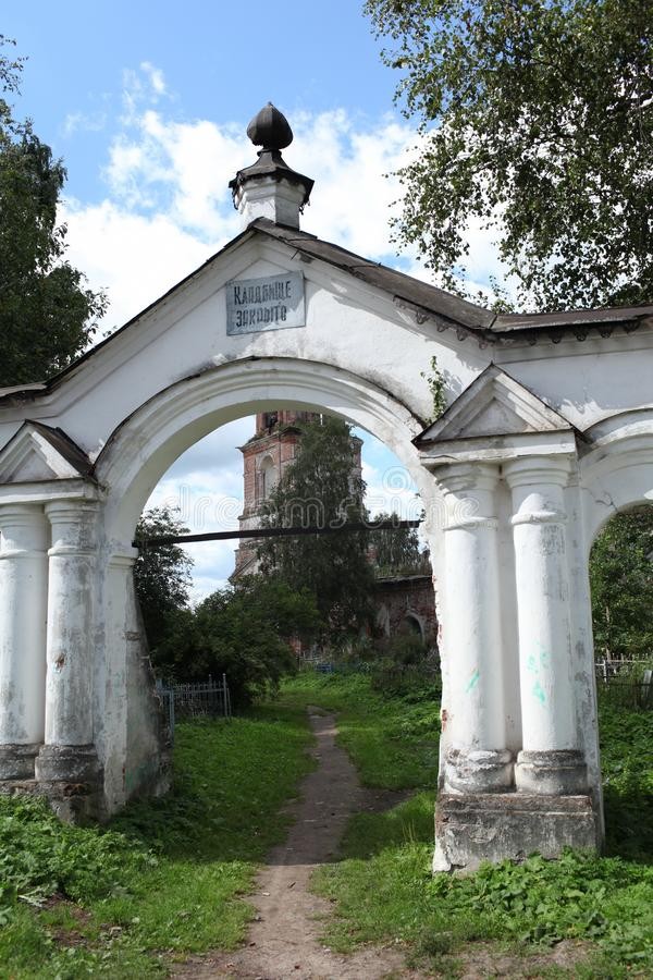 Gate to the old cemetery stock photography